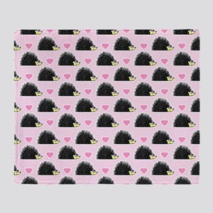 Cute Happy Hedgehog Pattern Pink Throw Blanket