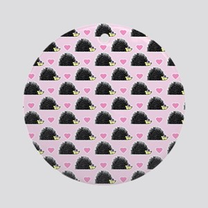 Cute Happy Hedgehog Pattern Pink Round Ornament