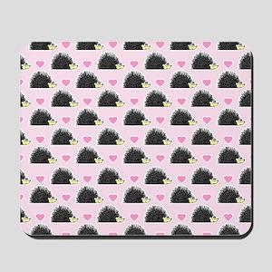 Cute Happy Hedgehog Pattern Pink Mousepad