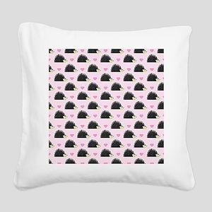 Cute Happy Hedgehog Pattern P Square Canvas Pillow