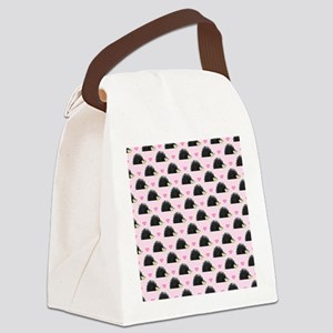 Cute Happy Hedgehog Pattern Pink Canvas Lunch Bag
