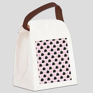 Cute Happy Hedgehog Pattern Pink Canvas Lunch Bag