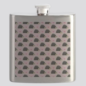 Cute Happy Hedgehog Pattern Pink Flask
