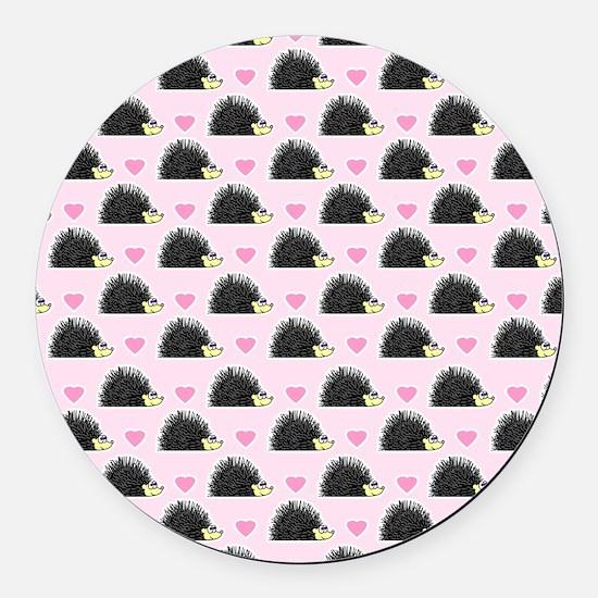 Cute Happy Hedgehog Pattern Pink Round Car Magnet