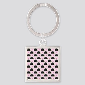 Cute Happy Hedgehog Pattern Pink Square Keychain