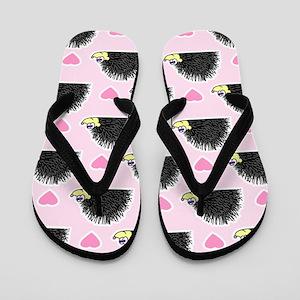Cute Happy Hedgehog Love Pattern in Pin Flip Flops