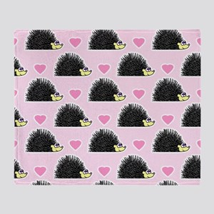 Cute Happy Hedgehog Love Pattern in  Throw Blanket