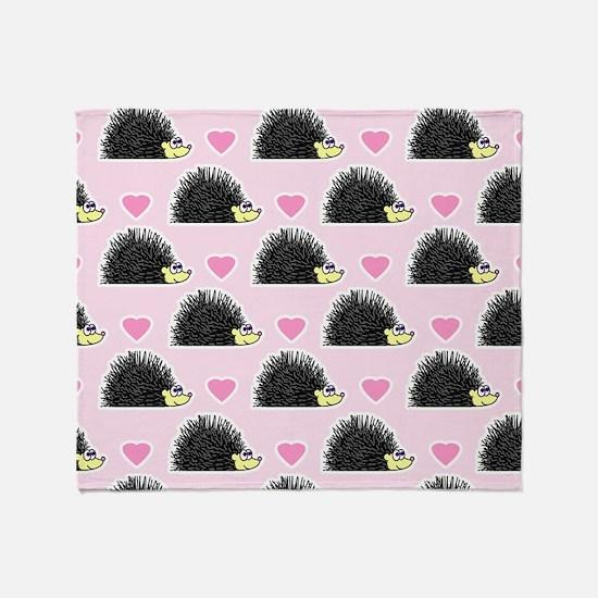 Cute Happy Hedgehog Love Pattern in  Throw Blanket