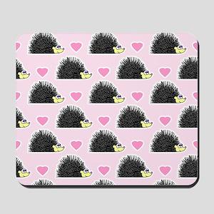 Cute Happy Hedgehog Love Pattern in Pink Mousepad