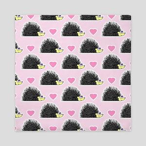 Cute Happy Hedgehog Love Pattern in Pi Queen Duvet