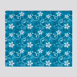 Tropical Floral Tiki Turquoise Throw Blanket