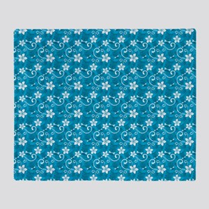 Tropical Floral Tiki Turquoise Throw Blanket
