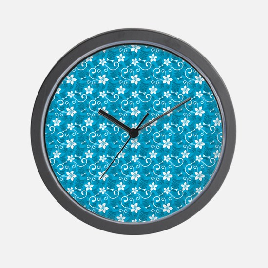 Tropical Floral Tiki Turquoise Wall Clock