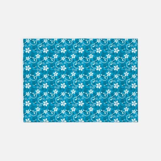Tropical Floral Tiki Turquoise 5'x7'Area Rug