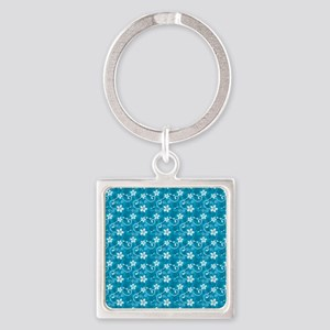 Tropical Floral Tiki Turquoise Square Keychain