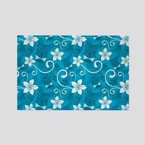 Tropical Floral Tiki Turquoise Rectangle Magnet