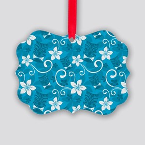 Tropical Floral Tiki Turquoise Picture Ornament