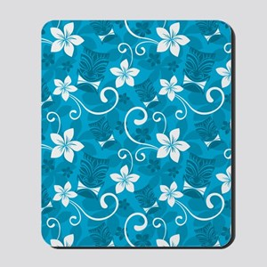 Tropical Floral Tiki Turquoise Mousepad
