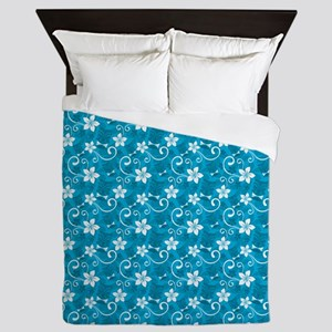 Tropical Floral Tiki Turquoise Queen Duvet