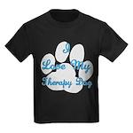 Love My Therapy Dog Kids Dark T-Shirt