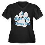 Love My Therapy Dog Women's Plus Size V-Neck Dark