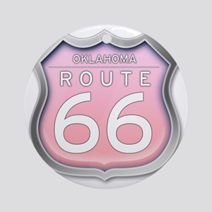 Oklahoma Route 66 - Pink Round Ornament