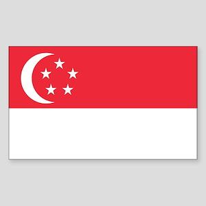 Singapore Flag Sticker (Rectangle)