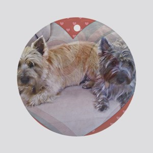 Cairn Terriers Inside Heart Round Ornament