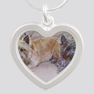 Cairn Terriers Inside Heart Silver Heart Necklace