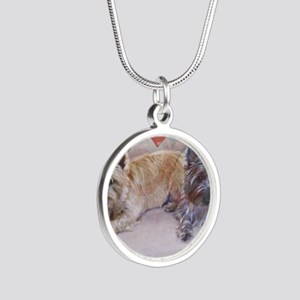 Cairn Terriers Inside Heart Silver Round Necklace