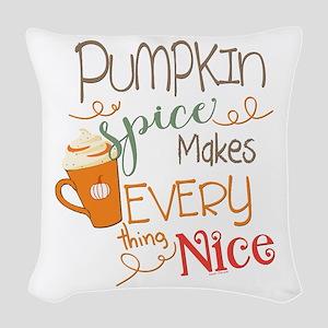 Pumpkin Spice Makes Everything Woven Throw Pillow