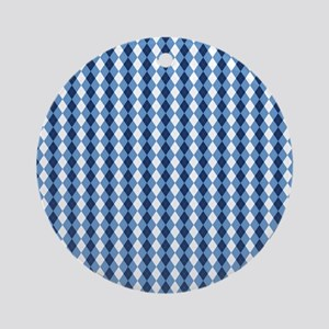 UNC Basketball Argyle Carolina Blue Round Ornament