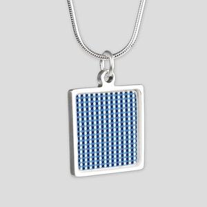 UNC Basketball Argyle Caro Silver Square Necklace