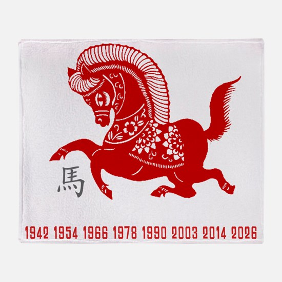horseA84dark Throw Blanket