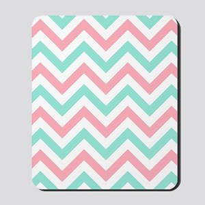 Turquoise,white and pink chevrons shower Mousepad