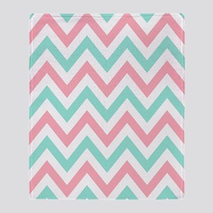 Turquoise,white and pink chevrons tw Throw Blanket