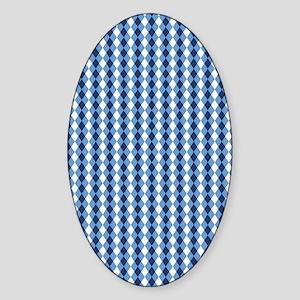 UNC Basketball Argyle Carolina Blue Sticker (Oval)