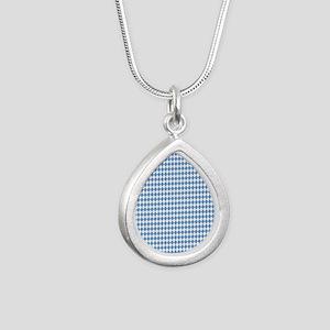 UNC Carolina Blue Argle  Silver Teardrop Necklace