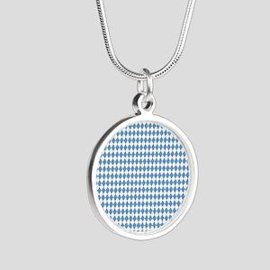 UNC Carolina Blue Argle Bask Silver Round Necklace