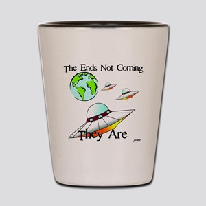 Three Saucers Aproaching Earth Shot Glass