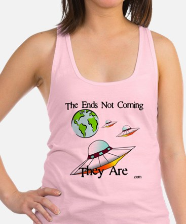Three Saucers Aproaching Earth Racerback Tank Top
