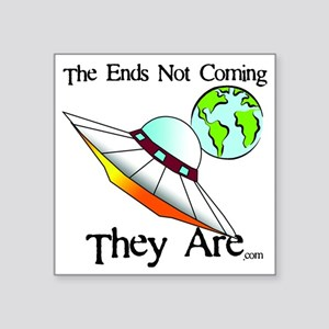 """Big Saucer Coming To Earth Square Sticker 3"""" x 3"""""""