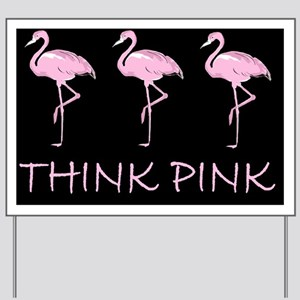 Breast cancer flamingo d Yard Sign