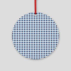 UNC Argyle Carolina Blue Tarheel Round Ornament