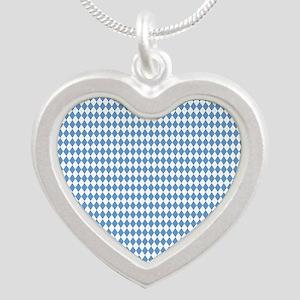 UNC Carolina Blue Argle Bask Silver Heart Necklace