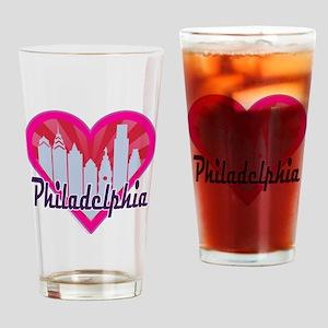 Philly Skyline Sunburst Heart Drinking Glass