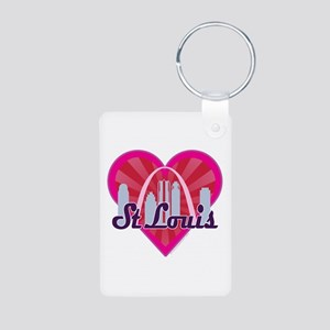 St Louis Skyline Sunburst Heart Keychains