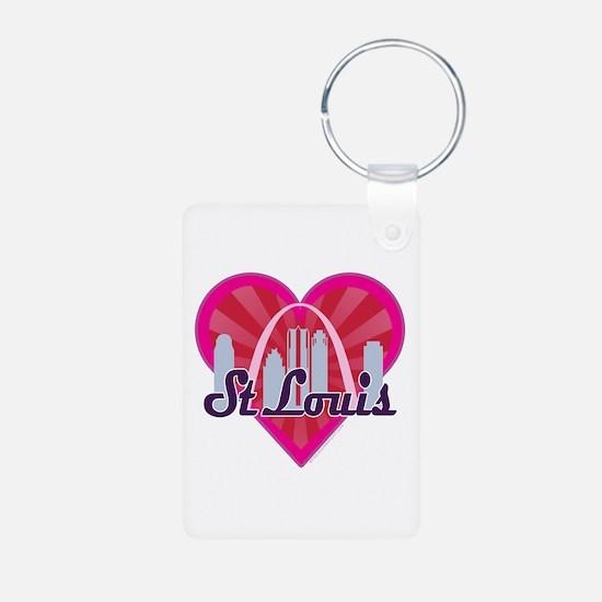 St Louis Skyline Sunburst Heart Keychains