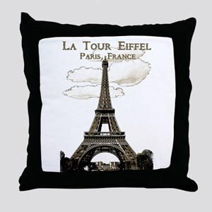 Eiffel Tower-Paris-France-1-Sepia Throw Pillow