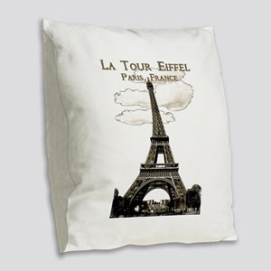Eiffel Tower-Paris-France-1-Sepia Burlap Throw Pil
